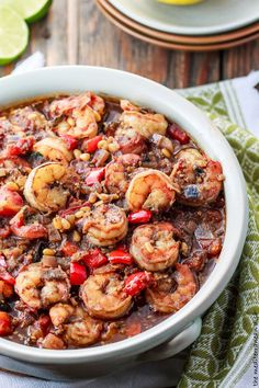 Baked Shrimp Stew with a Mediterranean Chunky Tomato Sauce! A delish Holy Land-inspired dish. Cooks in like 20 minutes! Step-by-step photo instructions included.