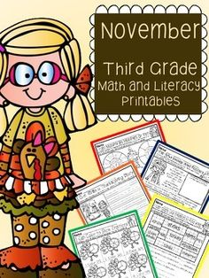 November Thanksgiving Fall Third Grade Math and Literacy printable packet - common core aligned. 40 pages for $5!!
