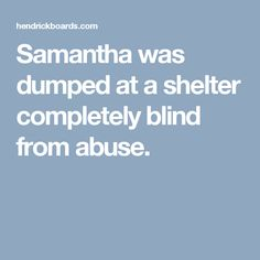 Samantha was dumped at a shelter completely blind from abuse.