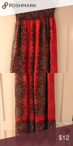 Paisley Floral Burnt Orange Maxi BEAUTIFUL Maxi dress! Paisley and burnt orange with browns and dreams. Stretchy halter top! Rue 21 Dresses Maxi