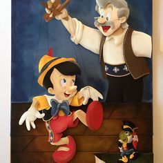 Pinocchio and Gepetto. Disney Paper Sculpture by Karin Arruda. Disney fanart. Disney Fineart.