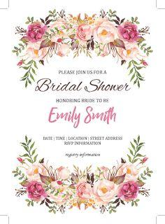 Bridal shower invitation - digital download - customize