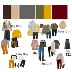 Perhaps the best what to wear for family photos guide I have seen! Breaks it down for you by colors.