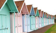 Photo Pastel Beach Huts Shades Colors Hut House Bungalows