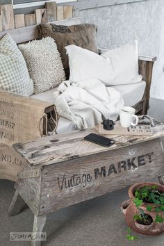 A wooden sawhorse for a Vintage styled rustic patio coffee table, part of Adding Rustic Wood Touches To A Modern Patio. By Funky Junk Interiors for eBay.