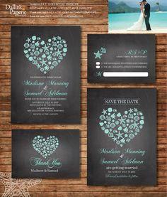 Beach Wedding Invitation printables, Destination wedding, Heart invitation, chalkboard, Customized DIY wedding, coral, turquoise, sea shell