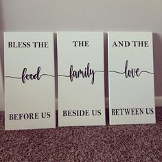 10in × 20in canvas Kitchen Signs, Kitchen Wall Art, Wall Sticker, Wall Decals, Family Wall Decor, Bless The Food, Wine Signs, Home Workshop, Be Natural