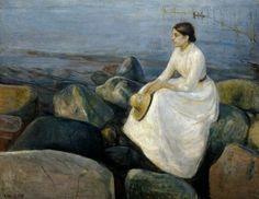 Breve ricordo di Munch con biografia.. dipinti.. e piccola analisi della sua arte | Notte d'estate. Inger davanti al mare – 1889