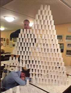 User Mikepants shared a photo of a giant pyramid made from hundreds of plastic cups and ro...