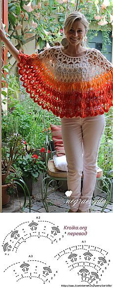 Knitting of a poncho Popsicle hook Poncho Au Crochet, Pull Crochet, Poncho Shawl, Crochet Collar, Love Crochet, Crochet Scarves, Crochet Clothes, Crochet Lace, Crochet Stitches