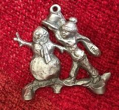 Blair Muhlestein Signed 1999 BOY SNOWMAN Ornament Loveland Pewter Christmas | eBay