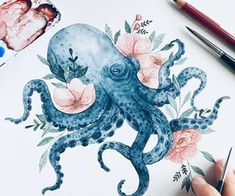 Octopus Illustration, Watercolor Illustration, Watercolor Paintings, Illustration Inspiration, Octopus Tattoo Design, Guache, Art For Art Sake, Watercolor Animals, Petra
