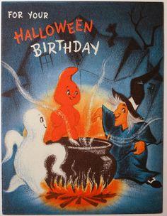 Vtg 1950s Hallmark Halloween Birthday Greeting Card Witch Ghosts 309