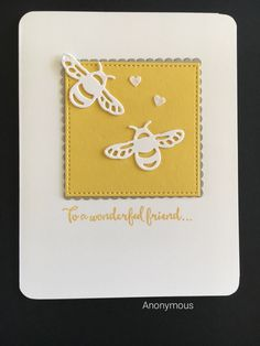 handmade greeting card ... clean and simple ... creamy yellow and vanilla ... pair of die cut  bees ... friendship sentiment ... Stampin' Up!