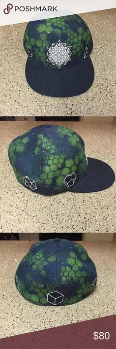"""Sacred Geometry Hat Handmade and printed hat. Size: 7 3/4. Amazing condition and worn maybe twice. Green airbrushed honeycomb design all over the hat and printed """"Sacred Geometry"""" shape configurations all around the sides of the hat as well as on the bottom of cap. Can post more pictures if requested. Amazing piece. Great for festival and raves, as well as everyday use. NOT ACTUALLY UNIF, just similar in style and here for more volume. UNIF Accessories Hats"""