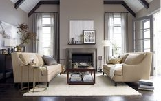 Furniture, Astounding Small Space Living Room Ideas With Stunning Beige Sofas And Cool Brown Wood Table On Combined Soft White Rug Also Modern White Drum Floor Lamp Using Fireplace Plus Soft Large Gray Curtains: Magnificent Living Room Ideas In Your Home
