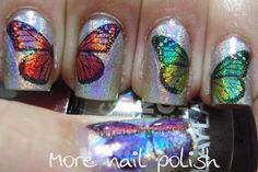 Holographic Butterflies - Tutorial.... DIY temporary tattoos as nails art?!  Genius plan!  I'm half tempted to buy a color printer just for this.