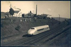 """German Empire Picture Postcards - The """"Schienenzeppelin"""" passing the village of Seesen (Lower Saxony), original photo-postcard circa 1931, unused, writing on back"""