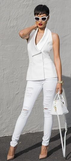 White Clothes Nude Pumps Casual Chic Style by Micah Gianneli: