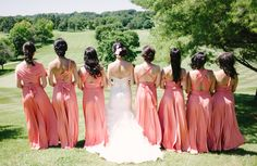 Love all the different backs on this bridal party! Peach Pink Coral Sakura Maxi Convertible Bridesmaid Dresses by Henkaa