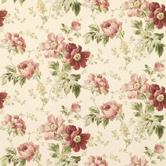 Peony Garden Cranberry Floral Wallpaper