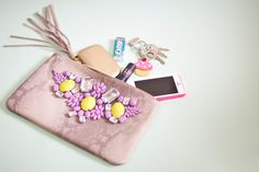 DIY: painted gem clutch bag