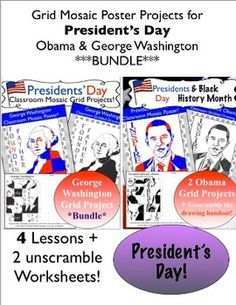 This is a bundle of my bundles :) You will get all of my Obama and George Washington Grid projects in one place. There are 4 art lessons and 2 unscramble worksheets. Great way to teach about the first President and the current President.... or save one for next year and do one this year!