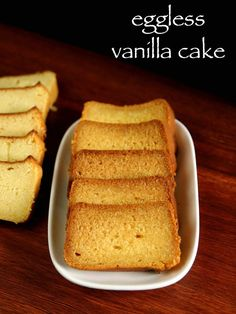 vanilla cake recipe, butter cake, eggless vanilla cake / plain cake with step by step photo/video. simple no fancy sponge fluffy & moist eggless cake recipe Eggless Vanilla Cake Recipe, Eggless Recipes, Eggless Baking, Easy Cake Recipes, Cookie Recipes, Vanilla Frosting, Snack Recipes, Snacks, Eggless Cake Recipe Video