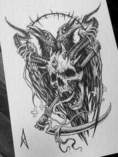 Satanic Tattoos, Evil Tattoos, Creepy Tattoos, Viking Tattoo Symbol, Norse Tattoo, Viking Tattoos, Tattoo Design Drawings, Skull Tattoo Design, Tattoo Sketches