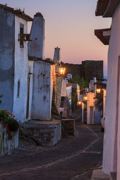 Sunset in Monsaraz walled small town in Alentejo, Portugal