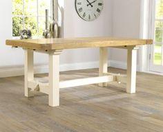 Muebles de madera maciza de roble pintado de mesa de comedor extensible con 2 extensiones: Amazon.es: Hogar