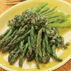 Roasted Asparagus with Caper Dressing Recipe - KitchenDaily | Serves 4 Total Calories 111 Per Single Serving