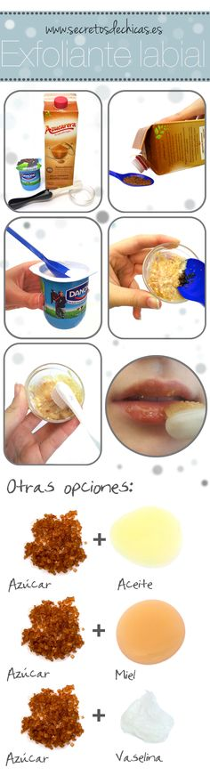 exfoliante labial casero con azúcar y miel o vaselina y aceite