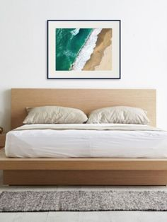 """""""This is an aerial drone shot that I took in Redondo Beach, CA in 2019. The vibrant emerald ocean and the footprints in the sand draw you in. The wave creates a lace dividing the ocean from the person. This is an award winning photograph that was in Westways magazine"""" – Kerry Stitt #beachbedroomideas #beach #abstractphotography #bedroomideasaesthetic #roomdesigns #roomdecoration Bedroom Artwork, Diy Artwork, Room Ideas Bedroom, Bedroom Wall, Bedroom Decor, Master Bedroom, Sand Drawing, Aerial Drone, Landscape Artwork"""