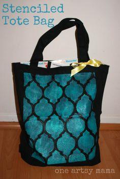 Stenciled Tote Bag | One Artsy Mama