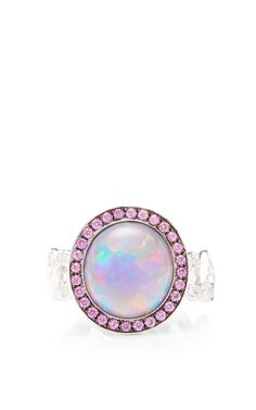Black Opal, Diamond, And Pink Sapphire Twisting Vine Ring by Katherine Jetter for Preorder on Moda Operandi #BlackOpal #OpalRings #OpalJewelry