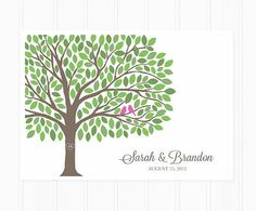 Guest Book - Wedding Guest Book Tree - Alternative Guest Book Poster with 200 Leaves