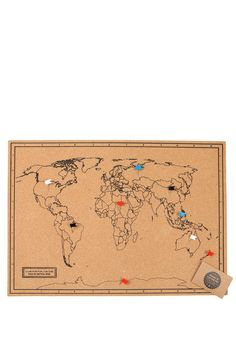 Lasercut and handmade cork push pin world map wall art with stick things onto a cork board this cork board has a black world map and also comes with 20 flag shape push pins so you can track your gumiabroncs Choice Image