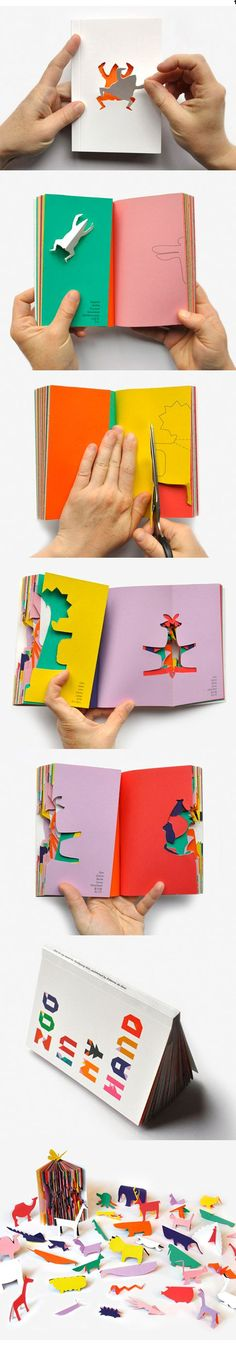 Zoo in my Hand - Sunkyung Kim/ Les Éditions du livre Up Book, Book Art, Origami, Buch Design, Paper Engineering, Book Layout, Handmade Books, Grafik Design, Book Making