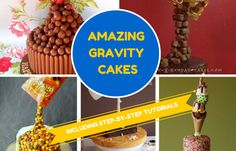 Gravity cakes are fast becoming the hottest new trend at birthdays, high teas, baby showers and even weddings. So what exactly is a gravity cake? Well, they're essentially cakes that appear as though they defy gravity. Just imagine a bag of M&Ms pouring onto a cake from high in the air, an upside down layer cake, or perhaps a cake with teacups suspended above.  #gravitycakes #birthdaycakes #party