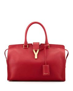 Y+Ligne+Soft+Leather+Bag,+Red+by+Saint+Laurent+at+Neiman+Marcus.