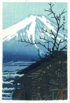 HASUI Japanese Woodblock Print Fuji in Winter 1930 | eBay