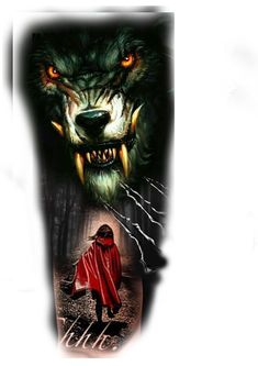 Half Sleeve Tattoos Drawings, Wolf Tattoo Sleeve, Cover Up Tattoos, Tattoo Sketches, Colored Tattoo Design, Wolf Tattoo Design, Trash Polka, Wolf Tattoos, Black Tattoos