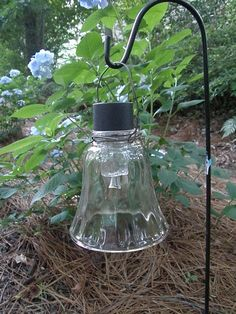 Shanty Insanity!: ~Make garden light with solar lights and old light globes Garden Lights~