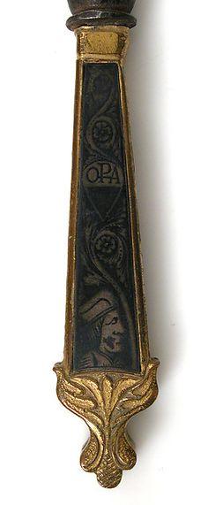 Fork - Detail Date: 15th century Culture: Italian Medium: Iron, copper alloy, partially gilt, niello Dimensions: Overall: 11 9/16 x 1 1/8 x 9/16 in. (29.4 x 2.9 x 1.4 cm)