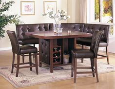 Acme Britney 6-pc Counter Height Dining Table Set in Brown by Dining Rooms Outlet