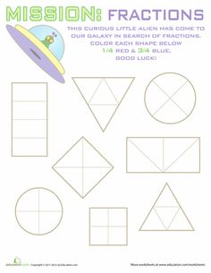 Worksheets: 2nd grade math Geometry Fractions #5