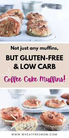 These gluten-free low carb and keto coffee cake muffins are so easy to make but most importantly delicious. Gluten Free Recipes For Breakfast, Gluten Free Muffins, Gluten Free Breakfasts, Gluten Free Baking, Muffin Recipes, Low Carb Recipes, Vegan Recipes, Vegan Coffee Cakes, Coffee Cake Muffins