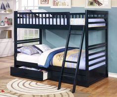 NAVY TWIN OVER TWIN SOLID WOOD BUNK BED #navy #navyblue #blue #darkblue #bunkbed #bed #kidsbed #furniture #bedroom #kidsbed #boy