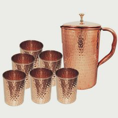 Indian Pure Copper Jug with 6 Tumbler Glass Set for Ayurvedic Healing, Capacity Litre Copper Tray, Copper Glass, Copper Pots, Pure Copper, Copper Kitchen Utensils, Ayurvedic Healing, Ayurveda, Handmade Copper, Drinking Glass